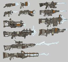 Fallout Tesla Weapon Thumbs by TheDarkHell Fallout Art, Fallout Weapons, Fallout Concept Art, Sci Fi Weapons, Fallout New Vegas, Weapon Concept Art, Fantasy Weapons, Sci Fi Armor, Weapons Guns