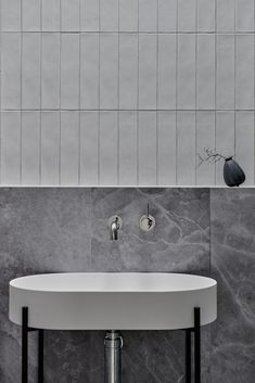 House call: A modern home featuring the epitome of joinery perfection. Grey marble look tiles and handmade subway tiles in bathroom Bathroom Trends, Bathroom Interior, Modern Bathroom, Small Bathroom, Grey Marble Bathroom, Grey Subway Tiles, Bathroom Laundry, Interior Livingroom, Industrial Bathroom