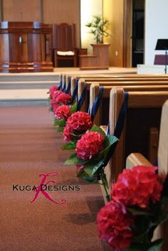 Kuga Designs: Raspberry and Navy Blue {Part One:The Church and First Reception} and reuse in centerpieces