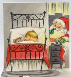 UNUSED Vintage Greeting Card Christmas Little Boy Stairs Santa Pop-Up Inside L16