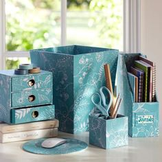 damask office accessories. Pool Hana Floral Hi-Grade Desk Accessories | PBteen Damask Office I
