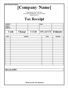 Captivating Tax Receipt Template Word Doc For Free , The Proper Receipt Format For Payment  Received And  Payment Received Format