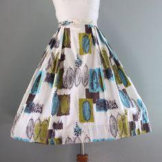 1950s Skirt / Vintage 50s Mid Century Modernist Print Skirt / Cotton Full Skirt