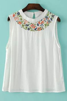Embroidered White Tank Top - WHITE L