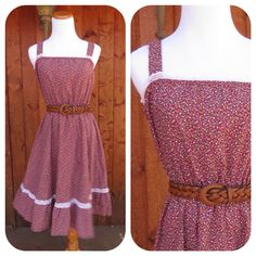 Floral Prairie Mini Dress Lace Eyelet Calico Ditsy Flower 70s Boho Hippie Country Western Sundress Summer Strappy Maroon Size Small Medium