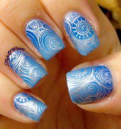 # Blue Whorls- Nail Art