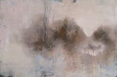 Daily painting ( distilled landscapes ) no 342, 6/3/15 by Tonie Rigby, acrylic on board, 52 x35 cm., ' A gentle distance.'
