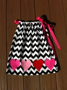 Girls Valentine dress. Black white chevron by EverythingSorella, $39.50