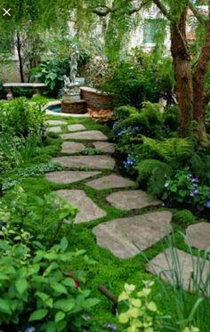 Flat step-n-stones pressed in grass