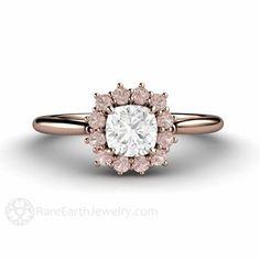 Cushion Cut Diamond Ring with a Pink Diamond Halo – Rare Earth Jewelry