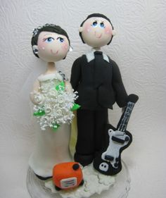 Custom wedding cake topper guitar player groom by CuteToppers, $90.00