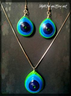 Quilling necklace set 8 ( peacock design)