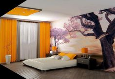 modern Japanese bedroom design with orange color and nature-inspired decor Decorative Bedroom