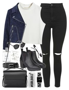 """Outfit with ripped jeans and black boots"" by ferned on Polyvore featuring Topshop, Chicnova Fashion, Acne Studios, MANGO, philosophy, Monki, AllSaints, Tai, Casetify and Abercrombie & Fitch"