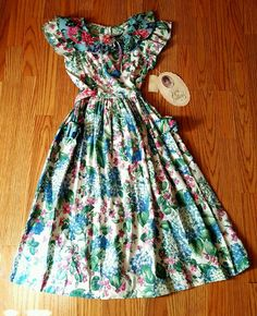 Vintage Rare Editions Girls Dress Floral Prairie #RareEditions