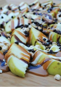 Apple Nachos – Drizzled with chocolate and caramel, this is a fun recipe to try with your kids! Your family will love this dessert.