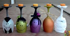 The Keeper of the Cheerios: Halloween Wine Glasses (Candle Holders)