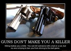 Guns don't Kill People, People Kill People. Whether its with a Gun, Car, Bat, w/e.   Guns shouldn't be blamed