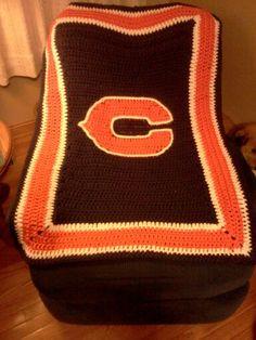 Free Crochet Pattern For Chicago Bears C : Afghan blanket, Crochet afghans and Chicago bears on Pinterest