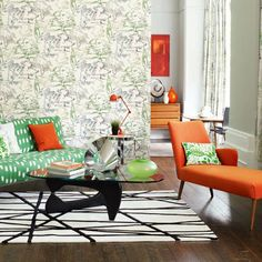 Sanderson: Midcentury Living Room: Decorating Ideas: Interiors