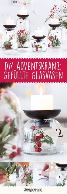 Advent Advent ein Lichtlein brennt! Wir haben für Sie eine DIY-Anleitung rausgesucht, um Ihnen eine besonders schöne Vorweihnachtszeit zu bescheren! Was halten Sie von der Alternative mit gefüllten Glasvasen?