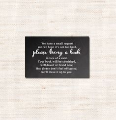 Chalkboard Baby Shower Invitation Insert – Bring A Book Instead Of A Card  – Instant Download Printable $2.00
