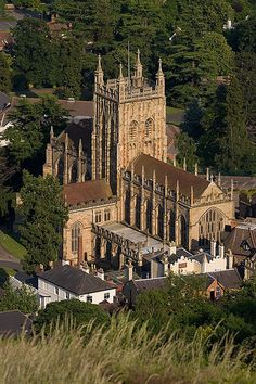 Malvern Priory in Warwickshire, England, built in 1075 was a Benedictine monastery now an Anglican parish church