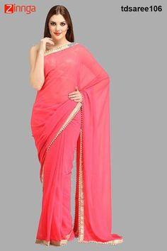 TRACK DEAL-Women's Latest Designer Pink  Color Georgette Saree - TDSAREE106
