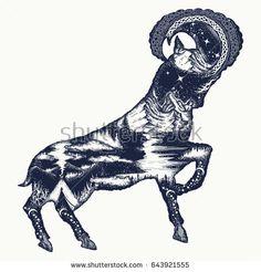 Mountain goat double exposure tattoo art and t-shirt design. Symbol of tourism, rock climbing, travel, outdoor, camping, wildlife. Wild goat tattoo