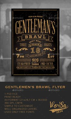 Awe-inspiring PSD  Gentlemen's Brawl Flyer  Template • Only available here ➝ http://graphicriver.net/item/gentlemens-brawl-flyer-/10051767?ref=pxcr