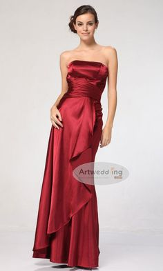 Strapless Satin Floor Length Dress