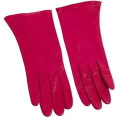 Pre-owned Vintage (Unsigned) Leather Gloves ($97) ❤ liked on Polyvore featuring accessories, gloves, pink, pink gloves, pink leather gloves, leather gloves, vintage leather gloves and real leather gloves