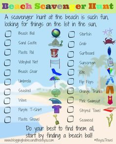 Beach Travel Printable for Kids - Scavenger Hunt for Your Next Family Beach Vacation #BayouTravel