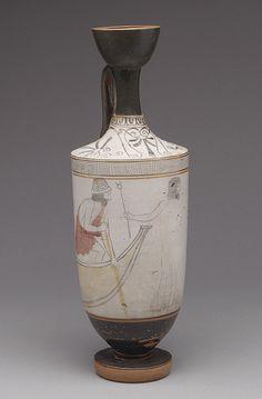 Lekythos (oil flask), ca. 450 B.C.; white-ground  Attributed to the Sabouroff Painter  Greek, Attic  Terracotta