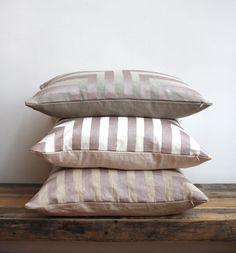 Doha pillow cover in metallic blush pink hand printed on greige hemp 12x21