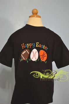 Boys Easter Egg Sports Balls Embroidery Shirt by BIndulgedBoutique, $25.00