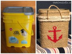 The Kim Six Fix: Cat Litter Bucket into Nautical Storage Tote (Tutorial) For school, letters, numbers or shapes Nautical Bedroom, Nautical Bathrooms, Nautical Home, Coastal Bedrooms, Anchor Bathroom, Rustic Bedrooms, Tidy Cats, Tote Tutorial, Tote Storage