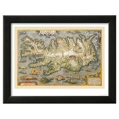 "Framed art print of an antiqued and illustrated map of Iceland.  Product: Framed wall artConstruction Material: Wood, paper, and acrylicColor: Black frameFeatures: Ready to hangDimensions: 14.25"" H x 18.25"" W"