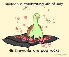 Sheldon is celebrating of July, his fireworks are pop rocks, text; Sheldon the Tiny Dinosaur Sheldon The Tiny Dinosaur, Cute Comics, Funny Comics, Funny Cartoons, Turtle Dinosaur, Dinosaur Dinosaur, Just Keep Walking, Funny Cute, Hilarious