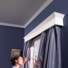 DIY Wood Cornice - Made one for every room in the house. Can use the top as a shelf for picture frames or Christmas decor.