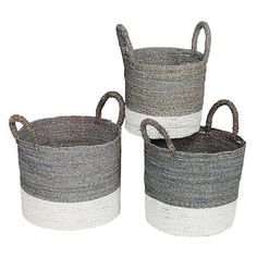 Membagi Two-toned Seagrass Wicker Baskets - Set of 3