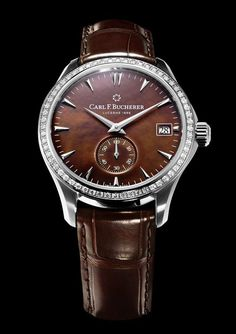 The #carlfbucherer Manero Peripheral Mother-of-Pearl watch is powered by the brand's in-house automatic caliber CFB A2050.  It features a 40.6 mm case with an outer bezel embedded with 60 diamonds and is shown here with a deep brown mother-of-pearl dial and brown leather alligator strap.  More @ http://www.watchtime.com/wristwatch-industry-news/watches/carl-f-bucherer-manero-peripheral-mother-of-pearl-luxury-for-ladies/ #watchtime #ladieswatches #watchgeek #Baselworld2017