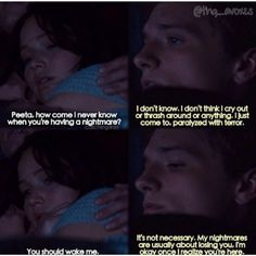 While i dont think this scene is in the movie, its in the book, and it made me fall in love w peeta all over agen.