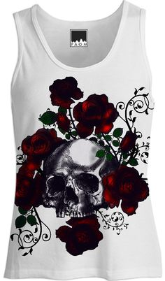 Skull and Roses Tattoo Goth Tank Top from Print All Over Me By Gothic Toggs