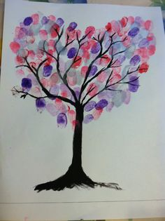 "Thumbprint valentine craft, could be  cute on a small canvas...maybe just shades of pinks and reds for the ""leaves""?"