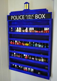 TARDIS nail polish organizer except I would use it to display my Doctor Who mini figures The Tardis, Tardis Blue, The Doctor, Watch Doctor, Dr Who, Geeks, Doctor Who Nails, Nail Polish Holder, Home Music