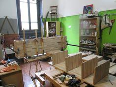 Incollaggio moduli di una scala libreria