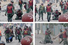 #ResistenciaVzla @experienciajovn  24 de feb. MALDITA: 1. Le jalan el cabello y la tiran al suelo 2. se quita el casco 3. la golpea, 4. y la arrastra. SALVAJISMO pic.twitter.com/FHTxPiTrzL