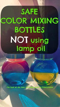 Bouteilles de découverte pour mélanger les couleurs sans danger pour les enfants (moins efficaces que celle avec de l'huile à lampe paraffine)