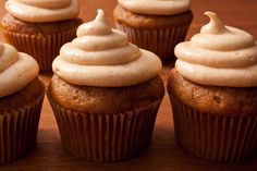 This recipe for pumpkin spice cupcakes is loaded with pumpkin and warm spices and can be topped with pumpkin–cream cheese frosting.